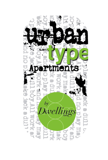 Urban Type logo and sign design, Dwellings logo design